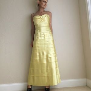 Multi-tiered Prom Yellow Evening Dress Size 8